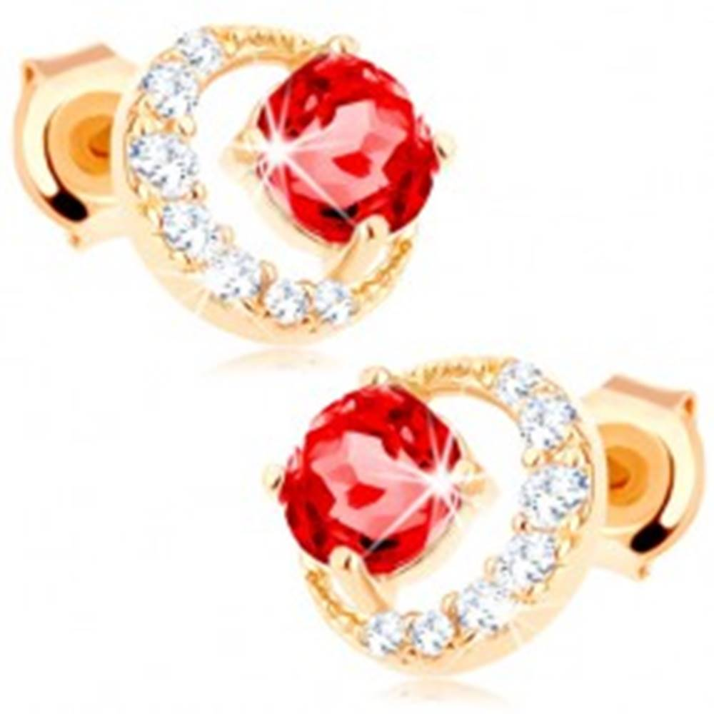 Šperky eshop Zlaté náušnice 375 - zirkónový kosák mesiaca, okrúhly červený granát