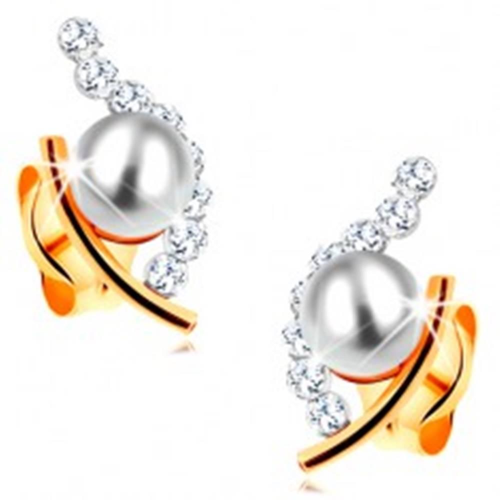 Šperky eshop Zlaté náušnice 585 - biela guľatá perla v neúplnom obryse zrnka, číre zirkóny