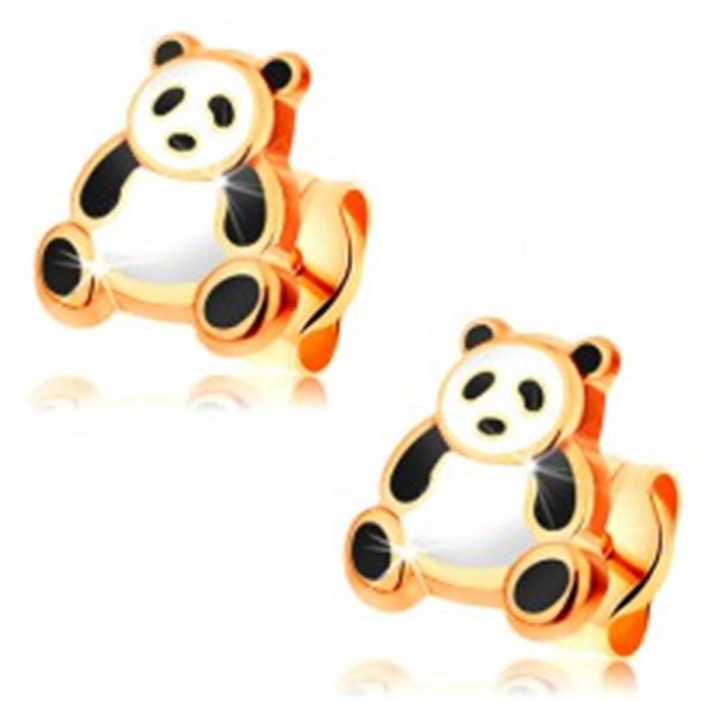 Šperky eshop Zlaté náušnice 585, glazúrovaná čierno-biela panda, puzetky