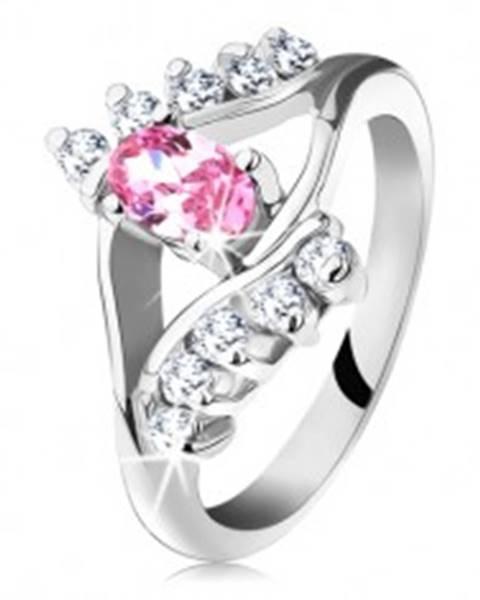 Šperky eshop Ligotavý prsteň so zirkónovým ružovo-čírym okom, rozdvojené ramená - Veľkosť: 48 mm