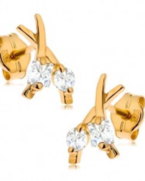 Šperky eshop Puzetové náušnice v žltom 9K zlate - prekrížené línie, okrúhly a štvorcový zirkón