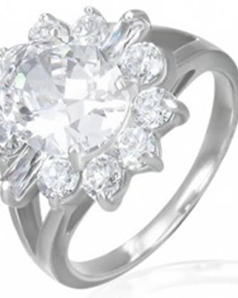 Šperky eshop Zásnubný prsteň - mohutný zirkónový kvet - Veľkosť: 49 mm