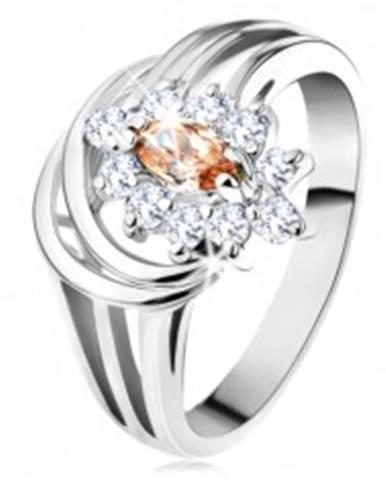 Lesklý prsteň so strieborným odtieňom, kvet zo svetlohnedo-čírych zirkónov - Veľkosť: 54 mm