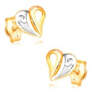Briliantové náušnice v žltom a bielom 14K zlate - srdce s výrezmi a diamantom