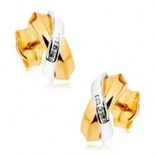 Dvojfarebné náušnice z 9K zlata - prelínajúce sa oblúky, pás drobných zirkónov