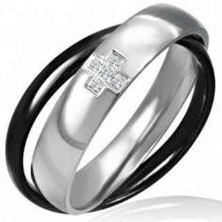 Dvojprsteň z ocele - čiernej a striebornej farby, krížik - Veľkosť: 46 mm