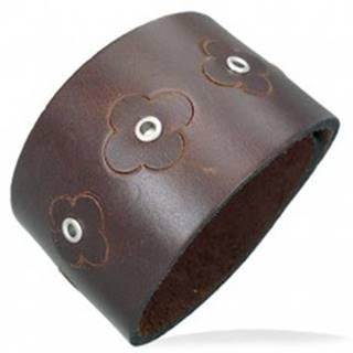 Hnedý náramok z umelej kože - kvietky