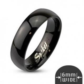 Jednoduchá oceľová obrúčka - hladký čierny povrch, 6 mm - Veľkosť: 49 mm