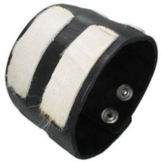 Kožený náramok - biele kožušinkové pásy