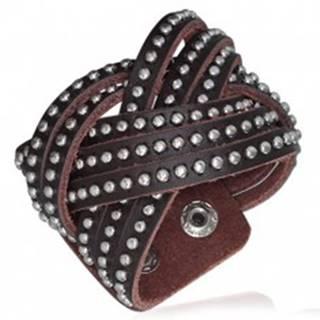 Kožený náramok - pletený, vybíjaný