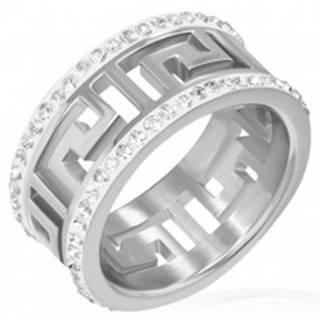 Lesklý oceľový prsteň s výrezom - grécky symbol, žiarivé pásy - Veľkosť: 51 mm
