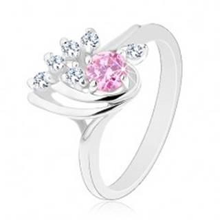 Ligotavý prsteň, asymetrická kvapka zdobená zirkónmi čírej a ružovej farby - Veľkosť: 50 mm