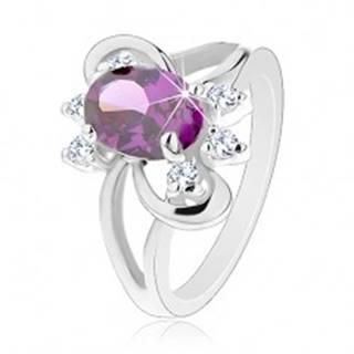 Ligotavý prsteň s rozdvojenými ramenami, fialový brúsený zirkón, hladké oblúky - Veľkosť: 51 mm