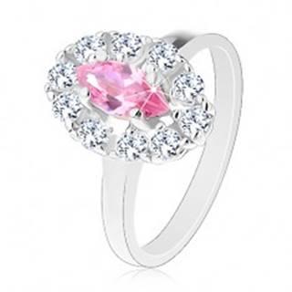 Ligotavý prsteň s ružovým brúseným zrnkom, oválny lem z čírych zirkónikov - Veľkosť: 50 mm