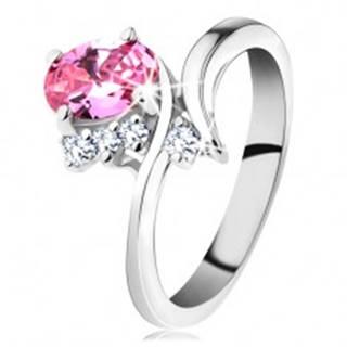 Ligotavý prsteň so zahnutými ramenami, ružový oválny zirkón, čire zirkóniky - Veľkosť: 48 mm