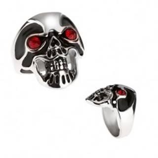 Masívny oceľový prsteň - lebka, čierna glazúra, červené oči - Veľkosť: 59 mm