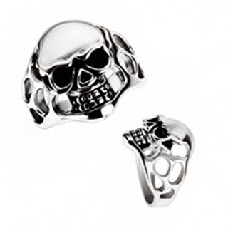 Masívny prsteň z chirurgickej ocele - lebka, výrezy - Veľkosť: 58 mm