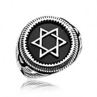 Mohutný prsteň striebornej farby, oceľ 316L, Dávidova hviezda v čiernom kruhu - Veľkosť: 58 mm