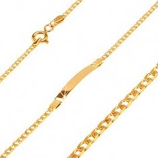 Náramok v žltom 14K zlate s platničkou, oválne zarovnané malé očká, 160 mm