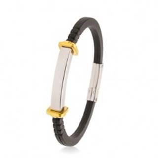 Náramok z čiernej gumy, hladká oceľová známka, štvorce a kruhy zlatej farby