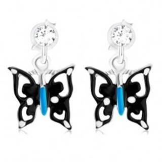 Náušnice s čierno-modro-bielym motýľom, striebro 925, krištáľ