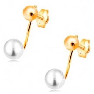 Náušnice v žltom 14K zlate - lesklá gulička a biela perla na paličke