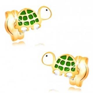 Náušnice v žltom zlate 14K - malá zeleno-biela korytnačka s čiernym očkom