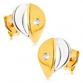 Náušnice z 9K zlata - širšia kvapka s čírym zirkónikom, dvojfarebné prevedenie