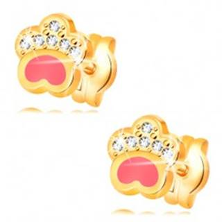 Náušnice zo žltého 14K zlata, psia labka s ružovou glazúrou a zirkónmi