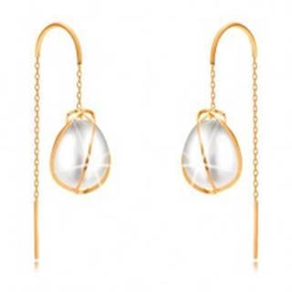 Náušnice zo žltého zlata 585 - oválna perla obtočená tenkými líniami, retiazka