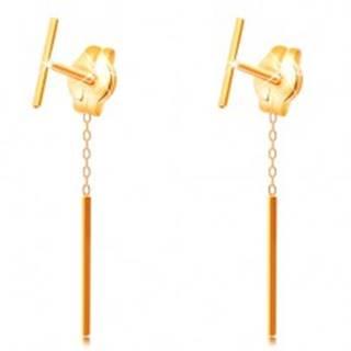 Náušnice zo žltého zlata 585 - tenká rovná palička, brzdítko s retiazkou