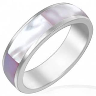 Obrúčka z lesklej ocele s ružovkastou perleťou - Veľkosť: 52 mm