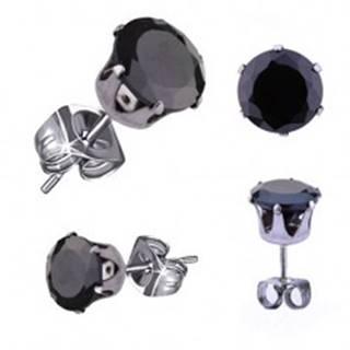 Oceľové náušnice v striebornom odtieni, čierny okrúhly zirkón, 5 mm