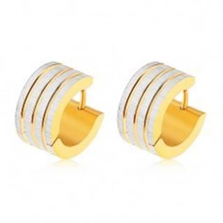 Oceľové náušnice zlatej a striebornej farby, zvislé pásy s ryhovaným povrchom