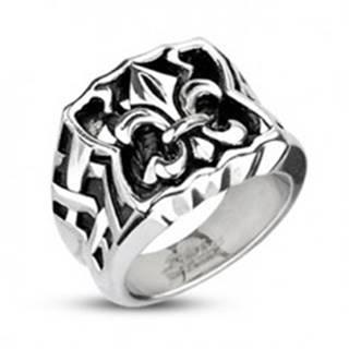 Oceľový pečatný prsteň - Fleur de Lis - Veľkosť: 59 mm