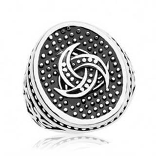 Oceľový prsteň, bodkovaný ovál s keltským motívom, ornamenty na ramenách - Veľkosť: 58 mm