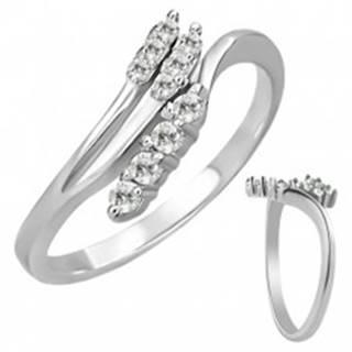 Oceľový prsteň - rozvetvenie so zirkónmi - Veľkosť: 49 mm