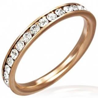 Oceľový prsteň ružovozlatej farby - číre zirkóny po obvode - Veľkosť: 47 mm
