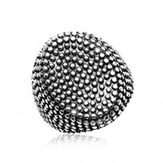 Oceľový prsteň, veľký ovál posiaty drobnými vypuklými bodkami, čierna patina - Veľkosť: 58 mm