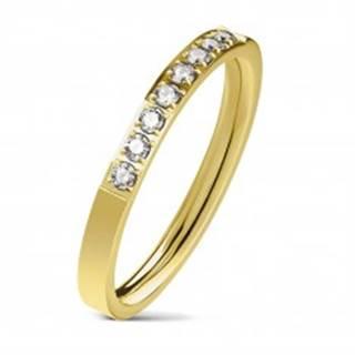Oceľový prsteň zlatej farby, línia čírych zirkónov, lesklý povrch, 2,5 mm - Veľkosť: 49 mm