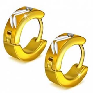 Okrúhle oceľové náušnice zlatej farby, diagonálne zárezy