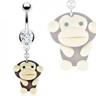 Piercing do brucha - prívesok Fimo opica