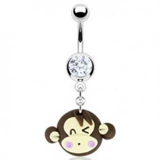 Piercing do pupka - žmurkajúca Fimo opica