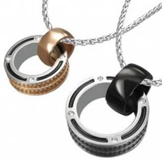 Prívesky pre dvojicu - prstence so zirkónom a okrajovou textúrou