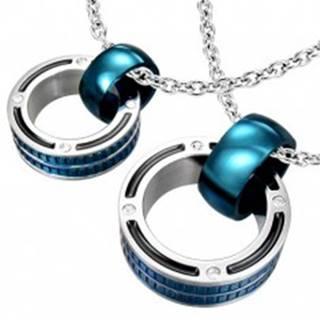 Prívesky pre pár - mohutné prstence v modrej farbe, zirkóny