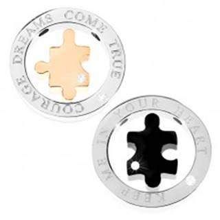 Prívesok dvojdielny - mohutná obruč, puzzle, nápis, zirkón