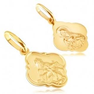 Prívesok zo 14K zlata - matný medailón s Kristom a Madonou
