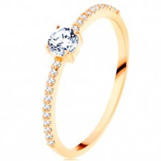 Prsteň v žltom 14K zlate - vystupujúci číry zirkón, línie zirkónikov čírej farby - Veľkosť: 50 mm