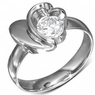 Prsteň z chirurgickej ocele, okrúhly zirkón, srdce a obrys srdca - Veľkosť: 49 mm