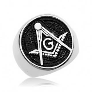 Prsteň z chirurgickej ocele, symbol slobodomurárov v patinovanom kruhu - Veľkosť: 57 mm